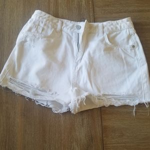 Missguided Distressed White Jean Shorts